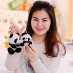 Panda with Bamboo Leaves Plush Toy