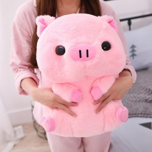 Pink Big Head Sitting Pig Plushie