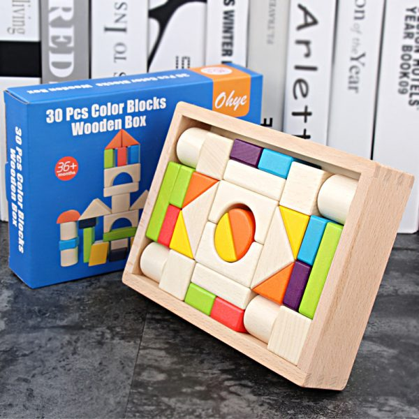 30pcs Wooden Box Color Building Blocks