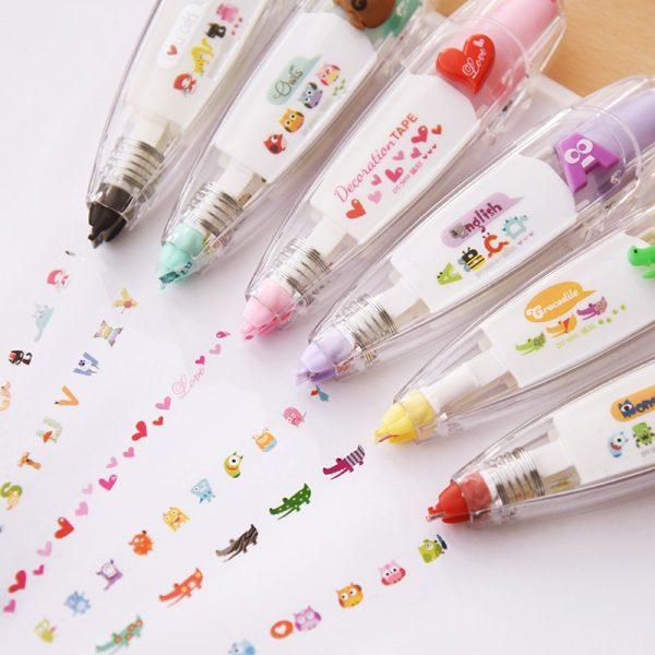 Cartoon Floral Sticker Tape Pen