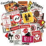 50pcs Warning Sign Stickers