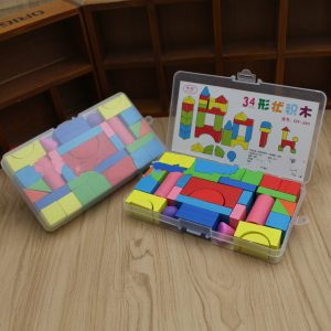 34pcs Wooden Shape Building Blocks