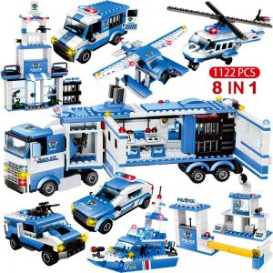 1122pcs 8 in 1 SWAT City Police Building Blocks