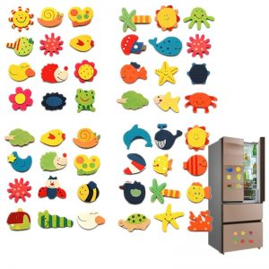 12pcs Wooden Refrigerator Magnet Fridge Stickers