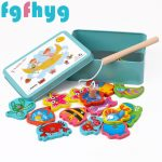 15pcs Wooden Magnetic Fishing Toy