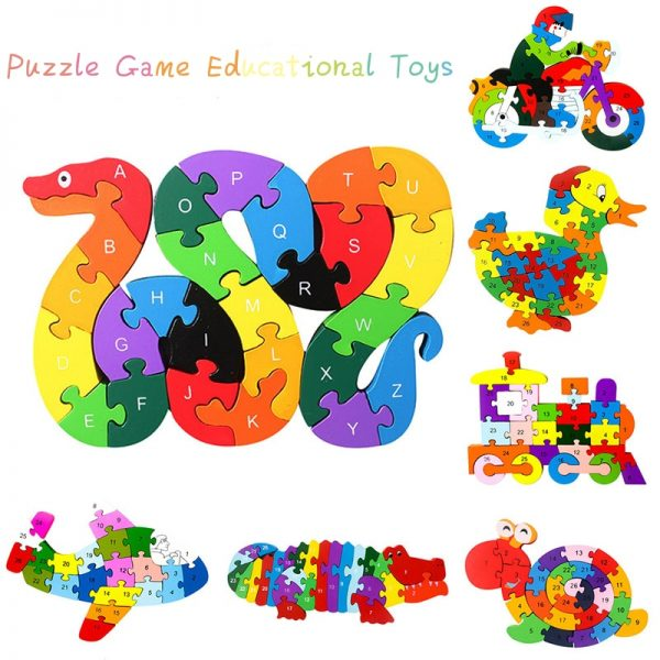 Children Wooden Alphabet Number Jigsaw Puzzle
