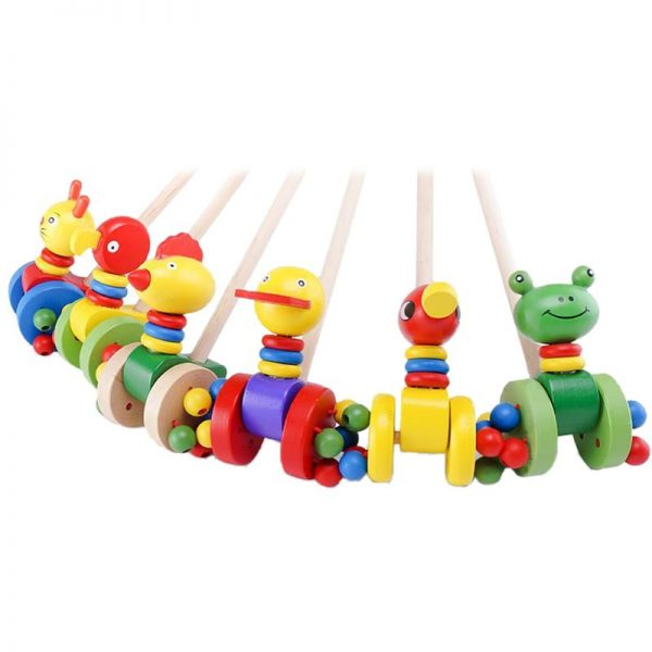 Baby Wooden Animal Push and Pull Trolley