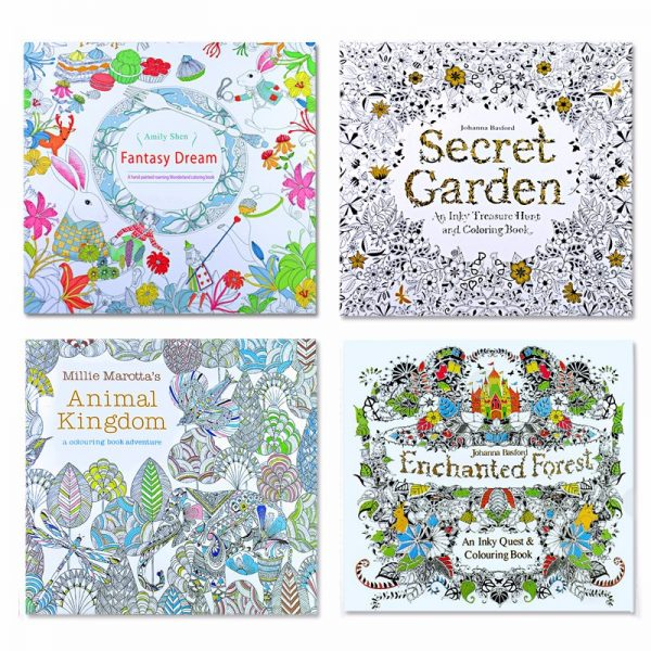 4pcs 24 Pages Animal Kingdom English Edition Coloring Book