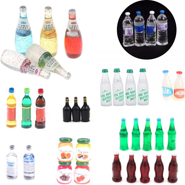 Mini Dollhouse Pretend Play Bottles