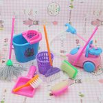 9pcs/set Mini Dollhouse Household Cleaning Set