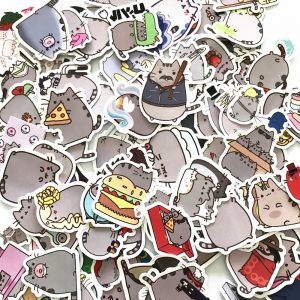 100pcs Cute Cartoon Cat Stickers
