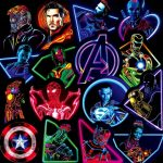 30pcs Neon Glow Super Heroes Stickers